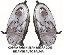 KIT COPPIA FARI FANALI ANTERIORE NISSAN MICRA K12 2003 AL 2007 PARABOLA CROMATA