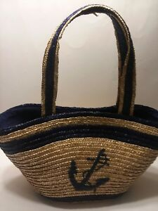 """""""Anchor"""" Straw Beach Bag Tote Beach Large Cruise  Large and Roomy"""