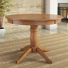 Round Dining Table Oak Finish Pedestal Kitchen Breakfast Nook Dinette Furniture