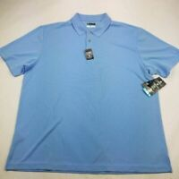 PGA Tour Mens Golf Polo Shirt Sky Blue Short Sleeve Breathable 2XL NWT