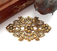 ANTIQUE BRASS Art Nouveau Leaf & Flowers Oval Plaque Stamping Oxidized (FC-3)