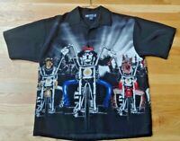 Big Dogs Mens Button Front  Short Sleeve Shirt  Dogs Ride Motorcycle  Size L