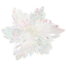Christmas Glitter Poinsettia Decoration 30cm with Clip - White