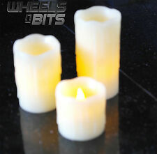 NEW SET OF 3 SKINNY REAL WAX BATTERY OPERATED LED FLAMELESS PILLAR CANDLES