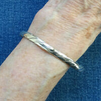 Vintage Taxco Mexico 925 Sterling Silver Bangle Bracelet Rope Twist Design