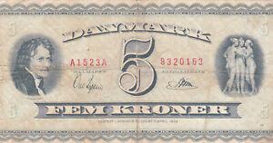 5 KRONER VG  BANKNOTE FROM DENMARK 1954 PICK-42e
