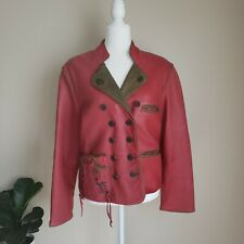 Vintage 80s Original Leather Sound LS Red Leather Jacket Green Accents Sz 38