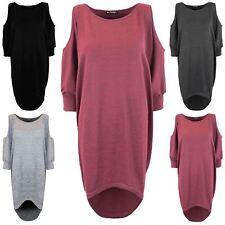Womens Ladies Cold Cut Out Shoulder Lagenlook Baggy Mini Oversized Hi Lo Dress