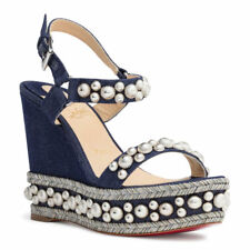 Christian Louboutin Rondaclou 120 Blue Denim Platform Wedge Sandal Heel 40 New