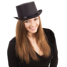 Adult Black Satin Top Hat With Ribbon Fancy Dress Costume Wedding Prop