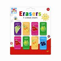 Pack of 8 Fruit Scented Erasers Office School Home Stationery Novelty Rubbers