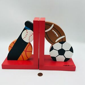 Tatutina Bookends Sports Wood Book Ends Children's Room Nursery Baseball Soccer
