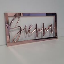 Personalised Wooden Name Hoop Sign Wall Rectangle Acrylic Mirror Decor Wreth