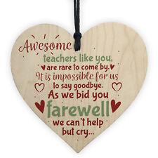 Goodbye Teacher Gift Wooden Heart Leaving Gift Teaching Assistant Nursery School