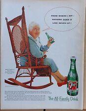 1955 magazine ad for Seven-Up - Rocking Grandma drinks bottle of 7Up