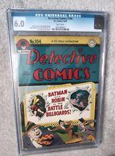 DC COMICS DETECTIVE BATMAN Golden age CGC white pages 104 6.0 FN