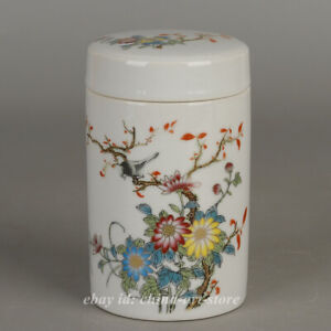 """5.1"""" Collect Chinese Famille-rose Porcelain Chrysanthemum Tea Canister Caddy Pot"""