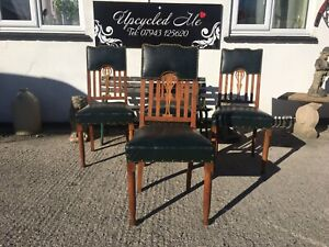Set Of 4 Arts And Crafts Solid Oak High Back Dining Chairs