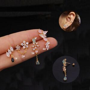1pcs Mini Huggie Hoop Ring Bar Dangle Ear Tragus Helix Piercing Post EarringGift