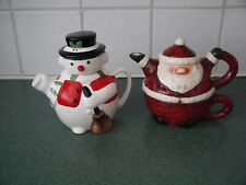 Novelty Father Christmas and Snowman Tea Pots