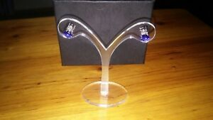 Silver Lab Created Blue Sapphire Stud Earrngs