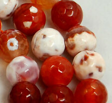 8mm Faceted Red & White Fire Crab Agate Gemstone Round Spacer Loose Beads 15""