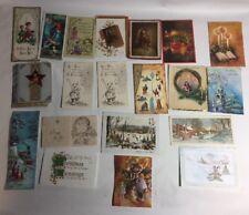 Vtg Lot Of 25 Christmas Cards USA Made USA Used Religious