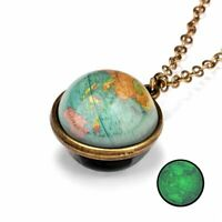 Galaxy Nebula Space Map Universe Glass Ball Pendant Glow in the Dark Necklace