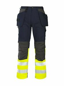 Projob Cotton Hi Vis Work Trousers with Knee Pad & Holster Pockets - 646522