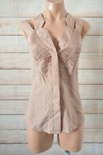 Elly M Button Front Shirt Blouse Size 12 Brown Nude Sleeveless Pleated Front
