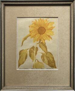 Ernst Rötteken (1882-1945) Sonnenblume Farbholzschnitt Detmold