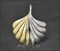 0,20ct Brillanten Lupenrein & River, Diamant Anhänger, 585 Gelbgold & Weißgold