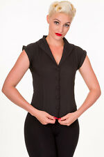 BANNED Steampunk Fitted Shirt Back Corset High Collar Blouse 8 10 12 14 16 Black XL (uk 16)