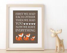 Orange and Brown Baby Boy Woodland Nursery Print, Boy Fox Nursery Decor