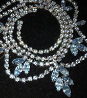 Estate Glacier Blue Marquis Cut Rhinestone Collar Necklace with Clear Drape