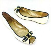Coach Womens Leana Peep Toe Flats Gold Buckle Black Ivory Shoes Comfortable Chic