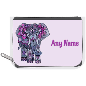 Personalised Denim Purse - Lilac/Purple ELEPHANT Design *Choice of text colour*