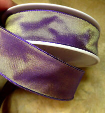 """VINTAGE 7/8"""" FRENCH RIBBON with wire SOLID 1yd PURPLE GOLD SHADED Made in France"""