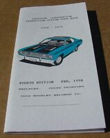 Mopar Option code bk 72 73 74 Cuda Challenger Dart