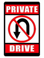 Private Drive No Turn-Around Sign No Rust Durable Aluminum Bright Color dd#361
