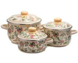 3 Botanical Print Enameled Steel Stockpots Pots w/Lids Enamelware Soup Pots