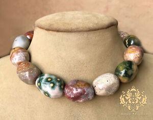 Aimee Fuller Ocean Jasper Stone Statement Necklace Natural Colorful Egg like Gem