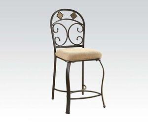 Furniture Kiele Antique Black Dining Room Fabric Metal Bar Counter Height Set