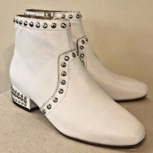 Womens Sam Edelman Lorin White Leather Studded Ankle Boots Retro Boho Sz. 6