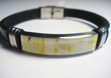Genuine Beautiful Baltic White Amber Bracelet Leather !!!