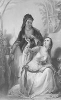 SULTAN'S DAUGHTER Odalisque & Her Girl Slave Leila - 1843 Antique Print