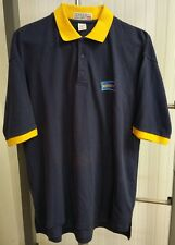 Blockbuster Video Employee Uniform Navy Blue Yellow Trim Golf Polo Shirt Size XL