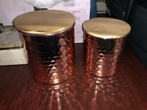 Uncommon James Hammered COPPER Canister Storage Set 2 piece BRAND NEW Fabfitfun