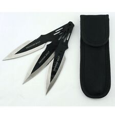 Thunder Bolt throwing knives set 3pcs stainless black tactical blade rescue