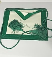 Vintage Emerald Green Past Master's Masonic Apron ~Part Of Big Collection~